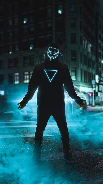 Neon Mask Anonymous 4k Guy Wallpapers Iphone