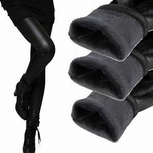 New 2018 Thickening Black Leather Boots Leggings Skinny Pants Winter Warm Womenu0026#39;s Trousers ...