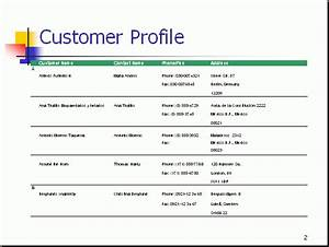 customer profile lists information about the target With sales customer profile template