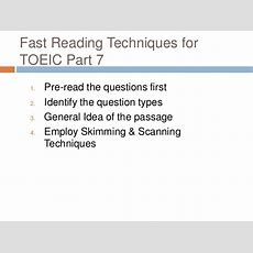 Fast Reading Techniques For Toeic Part7