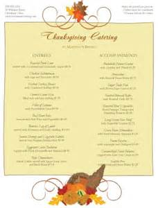 catering thanksgiving menu thanksgiving menus
