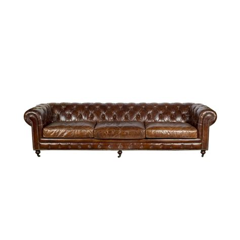 canapé chesterfield vintage canapé chesterfield géant 3 à 4 places en cuir marron vintage