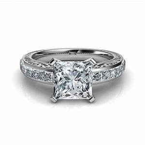 hand engraved vintage style princess cut engagement ring With princess style wedding rings