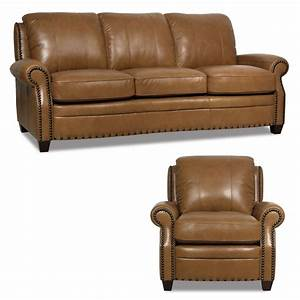 New luke leather 2 piece sofa set quotbennettquot wheat brown for Elena leather 2 piece sectional sofa