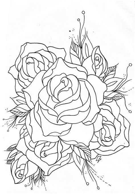 old+school+rose+outline (1111×1600) | Rose outline, Old school rose, Heart coloring pages