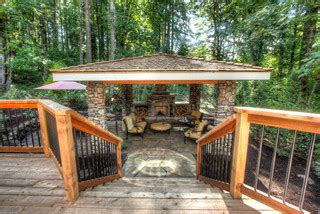 private paradise portland landscaping rustic deck