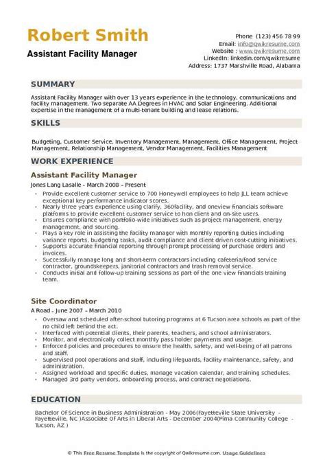 Resume Format For Assistant Manager by Assistant Facility Manager Resume Sles Qwikresume