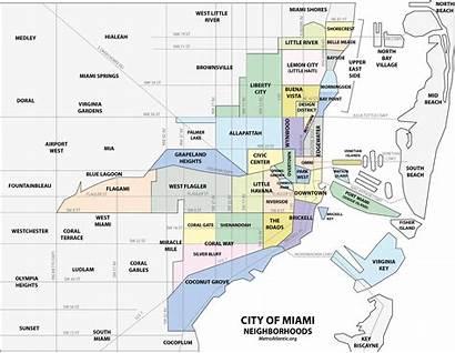 Miami Map Downtown Florida Neighborhood Dade Neighborhoods