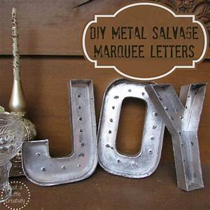 Christmas joy diy metal salvage marquee letters in for Salvaged metal letters