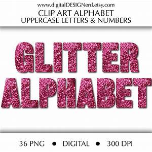 Clip art alphabet pink glitter uppercase letters numbers for Pink glitter letters