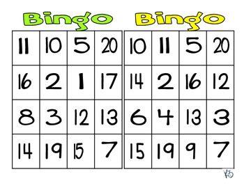 numbers 1 20 bingo by kristen brooks dankovich tpt