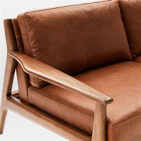 wood frame leather sofa mathias mid century wood frame leather sofa 82 5 quot west elm