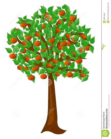 Albero Clipart - albero di estate con le pesche di frutti illustrazione di