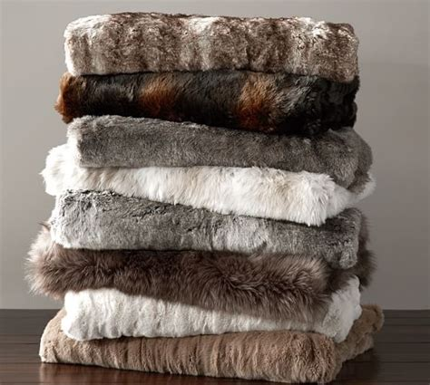 pottery barn throw faux fur throw pottery barn