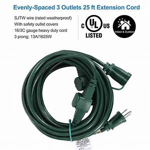 Dewenwils 25 Ft Outdoor Extension Cord Multiple Outlets