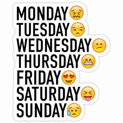 Week Emojis Moods Through Expressed Stickers Redbubble