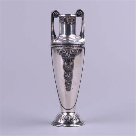Ornamental Vase by Orivit Nouveau Silver Plated Pewter Ornamental Vase