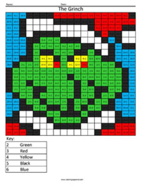 grinch holiday division coloring squared