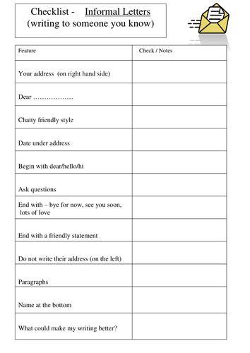 informal letter checklist  nm teaching resources tes