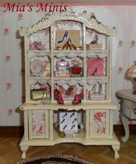 shabby chic displays shabby chic shoe handbag dresser shop display dolls house shop
