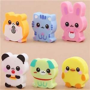6 cute baby animals erasers from Japan kawaii, Animal ...