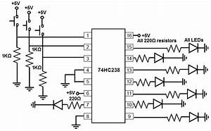 how to build a 74hc238 3 to 8 decoder demultiplexer circuit With 3 8 decoder circuit