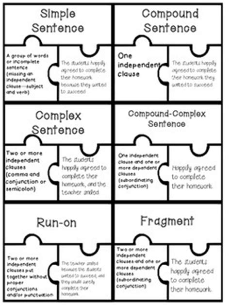 Sentence Types Puzzle Piece Activity {ccss Simple, Compound, Complex}