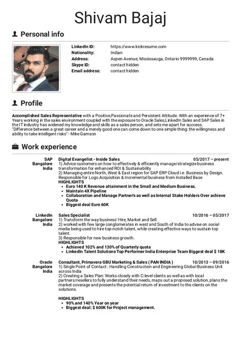 Sales Manager Resume Template by Resume Exles By Real Sap Inside Sales Manager