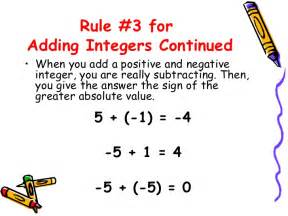 Adding Positive and Negative Integers Rules