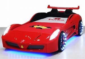 Lit Voiture Garcon : lit voiture turbo v7 rouge leds ~ Teatrodelosmanantiales.com Idées de Décoration