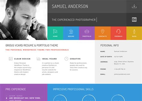 gridus vcard cv resume theme awwwards nominee