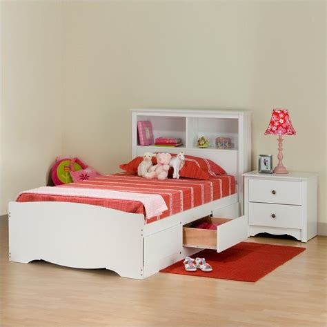 prepac monterey white twin wood platform storage bed  pc