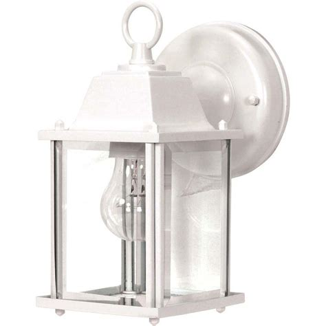 glomar 1 light outdoor white wall lantern cube lantern with clear beveled glass hd 636 the