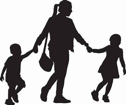 Mother Daughter Son Children Walking Clip Illustrations