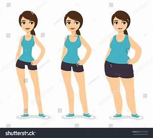 Three Cartoon Young Women Various Body Stock Illustration ...