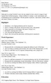 football coaching resume sles professional assistant football coach templates to showcase your talent myperfectresume