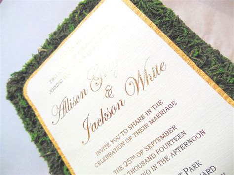 Rustic Garden Moss Wedding Invitation Custom by