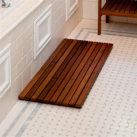 wooden bath mat wide teak wood bath mat free shipping