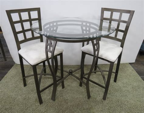 metal glass bistro table 2 padded chairs
