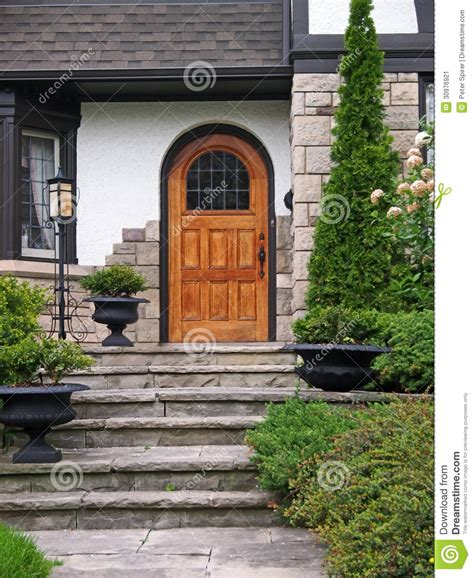 house entrance  flagstone steps stock image image