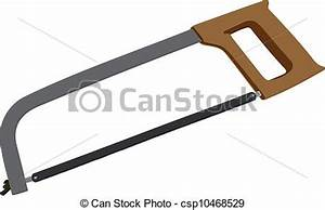 Vector Illustration of Sharp saw. A hacksaw on metal. The ...