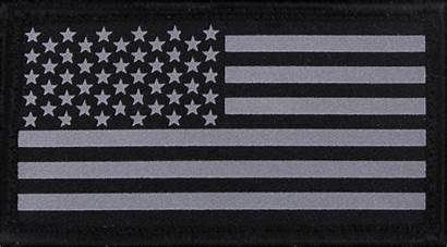 Flag American Patch Silver Subdued Reflective Military