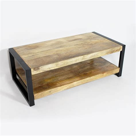 table basse industrielle deux plateaux made in meubles