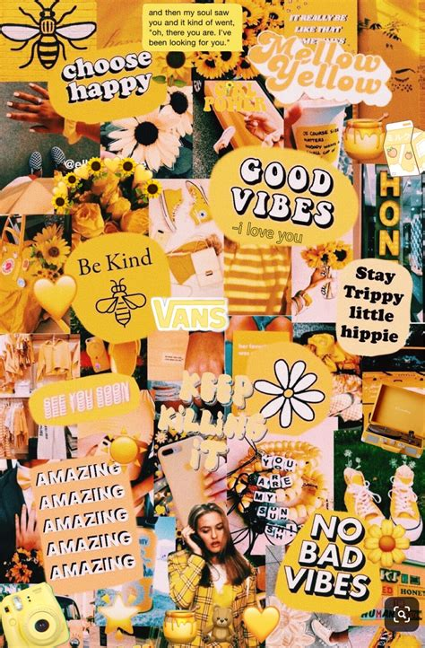 aesthetic wallpapers yellow collage for iphone quotes