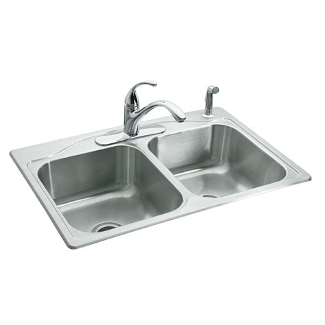 double stainless steel kitchen sink shop kohler cadence 22 in x 33 in double basin stainless