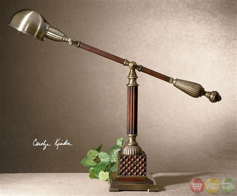 Dalton Aged Bronze & Wood Traditional Desk Lamp 29425-1