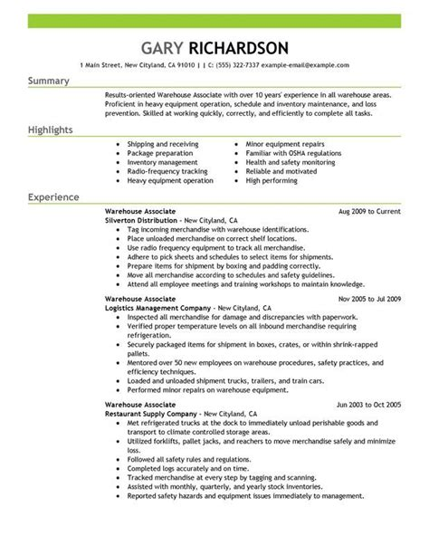 Warehouse Resume Template by Warehouse Associate Resume Sle Resume Exles