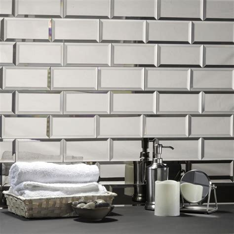 decorative wall tiles kitchen backsplash abolos echo 3 in x 6 in silver glass mirror peel and
