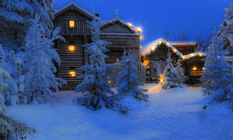 lapland finland night tree snow house hd wallpaper