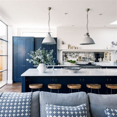 navy blue and white kitchen cabinets the inspired room voted readers favorite top decorating